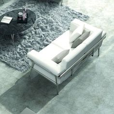 100 Essentials Eden Loveseat with Cushions Color: White / Grey, Fabric: Sunproof