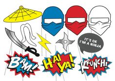 Here is the ultimate collection of Ninja photo booth props! Tons of Fun!! Great for a table centrepiece or Photo booth! Contains 13 pieces: ♥ Sensei hat and beard ♥ 3 x Ninja masks ♥ Throwing star ♥ sword ♥ lightning ♥ Hei Ya action star burst ♥ Bam action star burst ♥