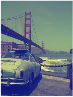 San Francisco - murky, vintage photo - love the colors and the Carmen Ghia - a classic car of the 70's