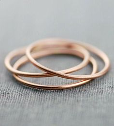 Brushed Gold Stacking Ring Trio