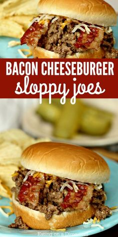 This bacon cheeseburger sloppy joes recipe is a big hit with everyone! You will love easy sloppy joes! This is truly the best sloppy joes recipe. Give Cheeseburger sloppy joes from scratch a try. The bacon and yummy sauce are amazing! Cheese Burger, Meat Recipes, Crockpot Recipes, Cooking Recipes, Sandwich Recipes, Beef Dishes, Food Dishes, Best Sloppy Joe Recipe, Easy Dinner Recipes