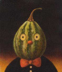 Autumn Gourd Print - Food Decor - Squash Portrait - Green - Anthropomorphic©LISA ZADOR