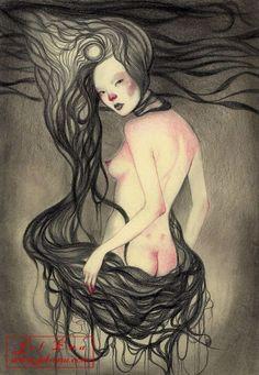Birth of Venus  original artwork  8 x 11.5 in.  graphite & prismcolor on Molsekine paper in frame  by  Jel Ena