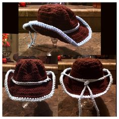 Crochet toddler size cowboy hat. I made this one without a pattern (not many free toddler size cowboy hat patterns on the web) not too bad since I'm new at this! Now to crochet chaps and vest so my lil one will be ready for Halloween!!