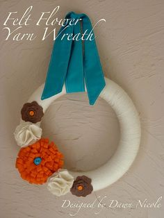 Felt flower yarn wreath.