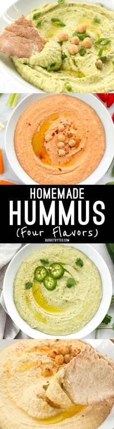 Homemade hummus - four flavors to try from @budgetbytes