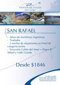 #SanRafael Tarifa final por persona en base doble expresada en pesos argentinos. Paquete válido para viajar hasta el 30/11/2012 (no válido para feriados).No incluye gastos administrativos.