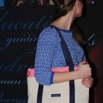A supporter modeling our HONOUR tote bag at the HONOUR launch cocktail reception!