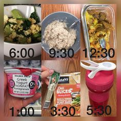 Working another shift at the hospital 👶🏼 🏩today, and I figured I'd share my day of meals with you. 🤗 (This is excluding dinner. And is really lacking in veggies because my broccoli didn't make it in my lunch box.) • 🍳 6:00: egg white scramble 🍚 9:30: @pescience protein oatmeal using @traderjoes instant snickerdoodle unsweetened oats with chia, amaranth, etc. 🍝 12:30: spaghetti squash with marinara and Italian Sausage (vegetarian) 🍦 1:00: Greek yogurt (the BEST flavor!!) 🧀 3:30: 7…