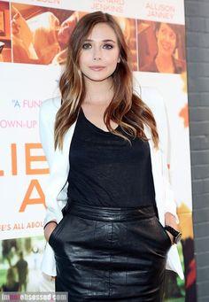 Elizabeth Olsen: Black leather and white blazer #delightfullychic