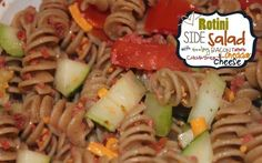 Saltwater Happy's ROTINI SIDE SALAD WITH SIZZLING BACON, TOMATO, CUCUMBER AND CHEDDAR CHEESE