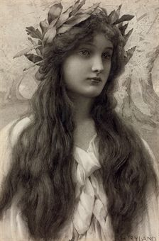 Maiden with a laurel wreath by Henry Ryland (1856-1924). Pencil and grey wash on paper, 17¼ x 11¼""