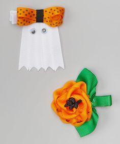 Orange & White Ghost Hair Clip Set #zulily #zulilyfinds