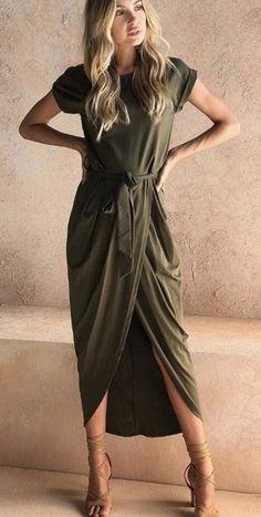 $27.99 for Chicnico Casual Short Sleeve Front Split Maxi Dress 2018 Fashion Spring Summer Long Dress Green Dresses