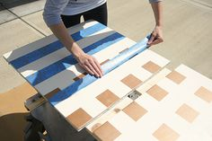This DIY outdoor checkers game table has a secret! It doubles as a pretty mosaic top patio table. We have the complete tutorial for this DIY project. Outdoor Checkers, Tile Tables, Outside Activities, Toy Rooms, Patio Table, Table Games, Home Projects, Mosaic, Woman