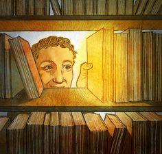 Somos capaces de encontrar, entre tantos libros de la biblioteca, ese tan especial. La llamada de la lectura (ilustración de Vivian Hansen)