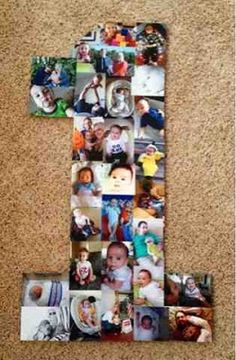 Covering a numeral 1 with baby pictures is a fun way to share memories.  See more first girl birthday party ideas at www.one-stop-party-ideas.com