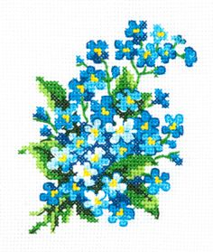 Magic Needle Forget-me-nots Cross Stitch Kit - x Discover more kits by Magic Needle at LoveCrafts. From knitting & crochet yarn and patterns to embroidery & cross stitch supplies! Small Cross Stitch, Cross Stitch Kitchen, Cute Cross Stitch, Cross Stitch Bird, Cross Stitch Flowers, Cross Stitch Designs, Cross Stitching, Cross Stitch Embroidery, Embroidery Patterns