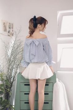 Japanese fashion two sides wear striped shirt