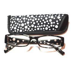 2.75 reading glasses black white polkadot w/case 2.75 reading glasses black and white polkadot with case Accessories Glasses
