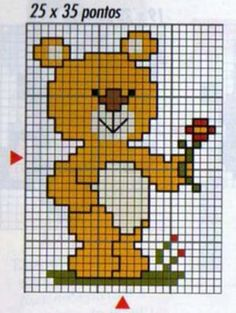 ours en peluche avec fleur grille point de croix Cross Stitch Baby, Cross Stitch Patterns, Broderie Simple, Bobble Stitch, Plastic Canvas Patterns, Knitted Blankets, Cross Stitching, Baby Love, Fictional Characters
