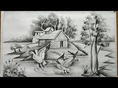 Nature Sketches Pencil, Landscape Pencil Drawings, Pencil Sketch Drawing, Art Drawings Sketches Simple, Pencil Art Drawings, Realistic Drawings, Easy Drawings, Scenary Paintings, Drawing Images For Kids