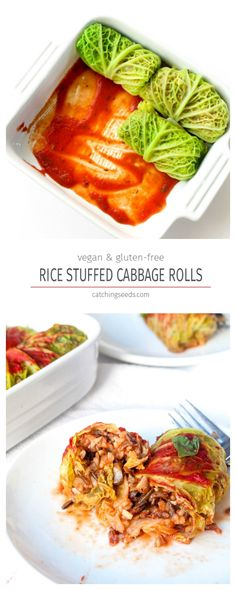 These Cabbage Rolls are filled with a savory wild rice and mushroom stuffing. They are a delicious vegan and gluten free dinner meal! | CatchingSeeds.com