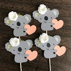 1 Dozen Koala Cupcake Picks- First Birthday, Party Decorations FREE SHIPPING