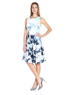 Calvin Klein Womens Print Seamed Flare Dress DoveWhite 16 ** Check out the image by visiting the link.