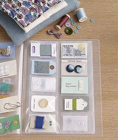 Keep the thread and buttons from your clothing in a binder or photo album.
