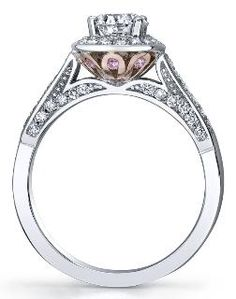 Pink Passion Collection ~ White and rose 18 /14 Karat Canadian Certified  Gold diamond ring