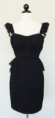 JASON WU Sexy Black Stretch Knit Ruffle Sleeve Peplum Gathered Bust Dress Size M