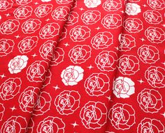 Birch Fabrics Tall Tales Stamped Rose Tomato