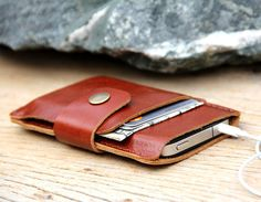Mini brance brown leather iphone wallet case on Etsy, $26.00