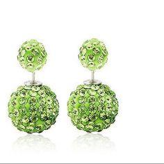 Green earrings Beautiful double sided earrings green Jewelry Earrings
