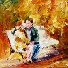 KISS ON THE BENCH - PALETTE KNIFE Oil Painting On Canvas By Leonid Afremov - http://afremov.com/KISS-ON-THE-BENCH-PALETTE-KNIFE-Oil-Painting-On-Canvas-By-Leonid-Afremov-Size-24-W-x-24-H.html?utm_source=s-pinterest&utm_medium=/afremov_usa&utm_campaign=ADD-YOUR