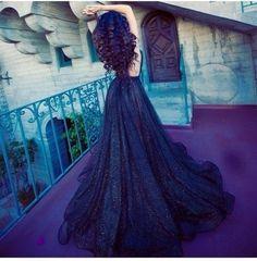 #Amazing beauty! #Beautiful dress! #Blue long dress!