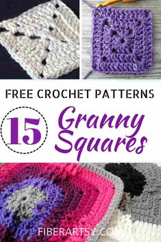 15 Granny Square Crochet Patterns and how to join them to make patchwork purses, afghans, scarves and shawls Crochet Square Blanket, Granny Square Crochet Pattern, Crochet Squares, Crochet Granny, Knit Or Crochet, Free Crochet, Granny Squares, Crotchet, Easy Knitting Patterns