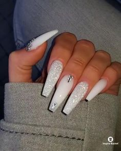 If you have problem with long nails, then try Acrylic Nails or artificial nails. Listed below are the Best Acrylic Nails Ideas for 2019 to take inspiration. Cute Acrylic Nail Designs, Best Acrylic Nails, White Acrylic Nails With Glitter, Coffin Nail Designs, Long White Nails, White Nail Designs, Long Nail Designs, White And Silver Nails, White Acrylics