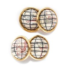 A Pair of Ivory and Gold Globe Cufflinks, circa 1960. Via FD Gallery, www.fd-inspired.com