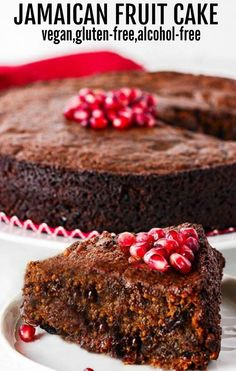 A delicious and rich version of Jamaican Fruit Cake that is especially popular around Christmas. it is vegan, gluten-free, and alcohol-free with an amazing taste and moist texture! #blackcake #vegan #glutenfree @healthiersteps