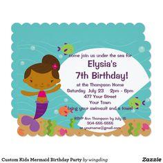 Custom Kids Mermaid Birthday Party Card