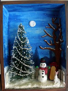 Christmas Snowman Shadow Box Diorama red sled winter by DabHands