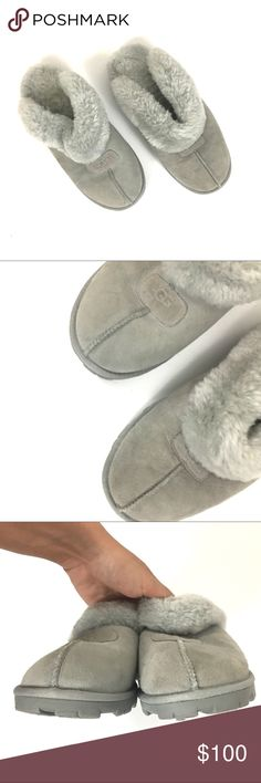 Ugg coquette light grey slippers 100% authentic ugg coquette slippers! They are light grey. I only wore them twice. They were $120. The size labels in each shoe are different materials. The traction-enhancing tread on the sole of the Coquette lets you take your slippers outside. Crafted from our signature Twinface, this style surrounds feet in warmth. Twinface Sheepskin insole Treadlite by UGG® outsole Nylon binding 🌹no trades 🌹discounts on bundles of 2+  🌹1000 items listed, take a peak…