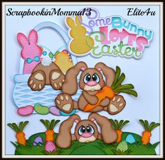 My newest piecing set using Hop into spring and Some bunny loves easter-DT Jess  http://www.ebay.com/itm/Elite4u-Paper-Piecing-Easter-Bunny-for-Premade-Scrapbook-Page-Layout-Border-/321671491312