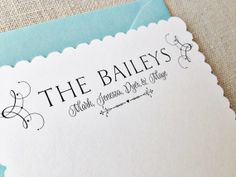 Pretty Personalized Stationery. Family Flourish Scalloped Card Pool Blue or by SincerelyYoursPaper, $25.00