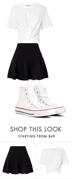 """""""yddyifkgkv"""" by anniecarlone on Polyvore featuring Miss Selfridge, T By Alexander Wang and Converse"""