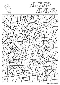 Coloriage manon et alexandre font du ski avec 12 couleurs color by number for adults and children - Coloriage manon ...