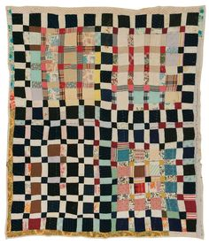 "Magdalene Wilson - ""One Patch"" - c. 1950 Cotton, wool, nylon, acetate, corduroy 82 x 74 inches"