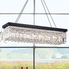 McAllen 6 - Light Crystal Empire Chandelier with Crystal Accents Globe Pendant, Lantern Pendant, Pendant Lighting, Ceiling Pendant, Light Pendant, Kitchen Chandelier, Black Chandelier, Rectangle Chandelier, Empire Chandelier